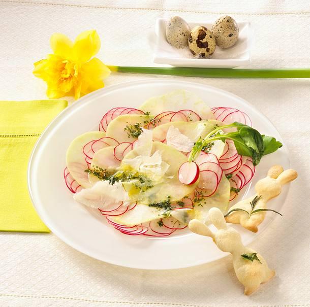 Kohlrabi-Carpaccio mit Parmesan und Brunnenkresse Rezept