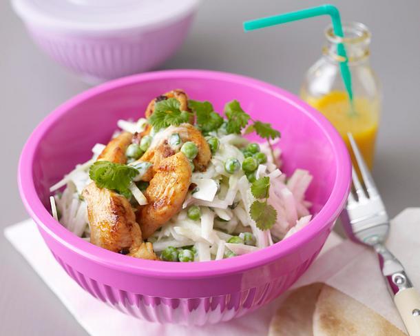 kohlrabi erbsen salat mit koriander joghurtso e rezept lecker. Black Bedroom Furniture Sets. Home Design Ideas