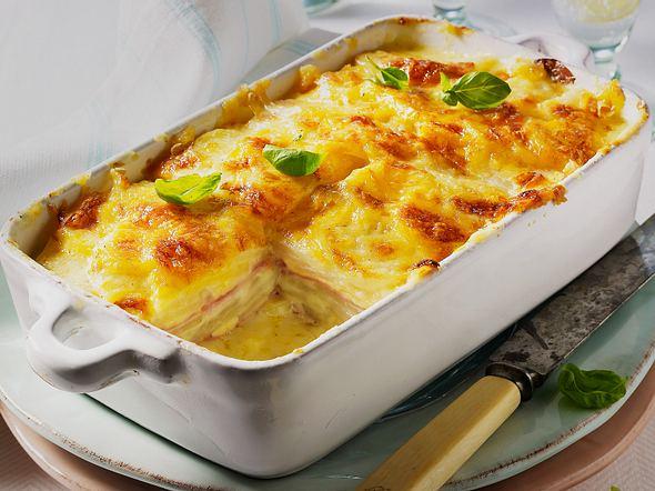 Kohlrabi-Kartoffel-Gratin mit Schinken Rezept