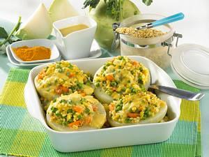 Kohlrabi mit Ebly-Gemüse-Füllung in Currysoße Rezept