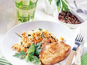 Kotelett mit Gemüsereis Rezept