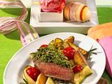 Kräuter-Lammlachse mit karamellisiertem Gemüse Rezept