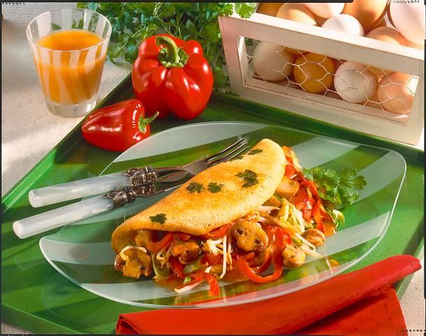 kr uter omelett mit s saurem paprika pilz gem se rezept lecker. Black Bedroom Furniture Sets. Home Design Ideas