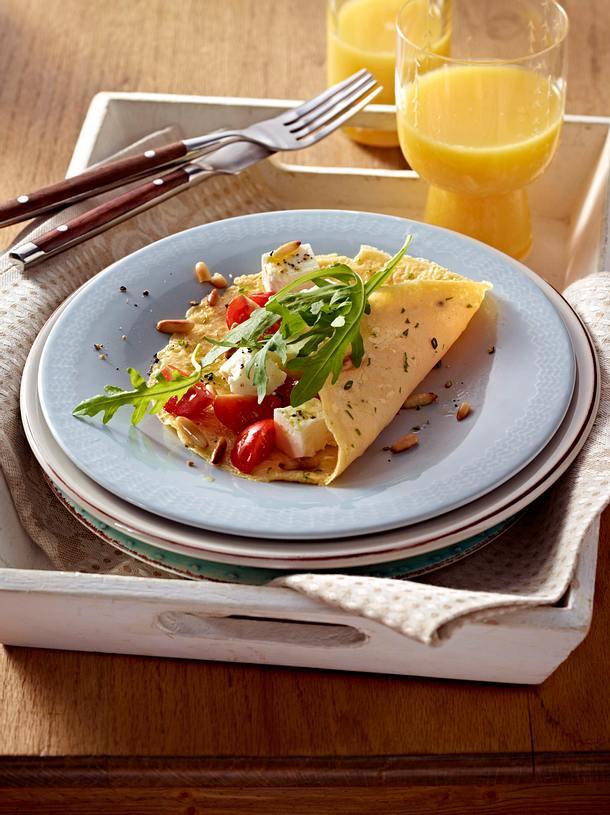 kr uter omelett mit tomaten rauke und schafsk se rezept lecker. Black Bedroom Furniture Sets. Home Design Ideas