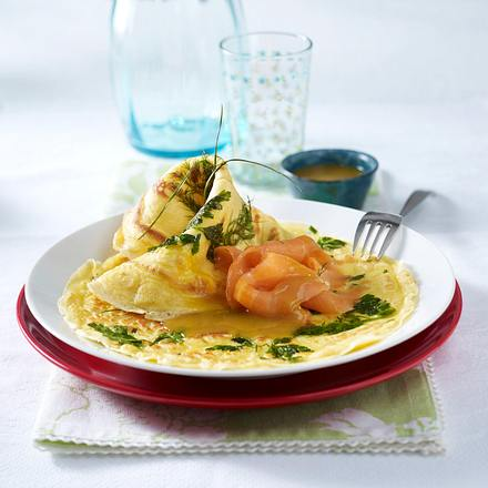 Kräuter-Pfannkuchen mit Räucherlachs und Honig-Senfsoße Rezept