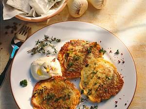 Kräuter-Pfannkuchen mit Schafskäsecreme Rezept