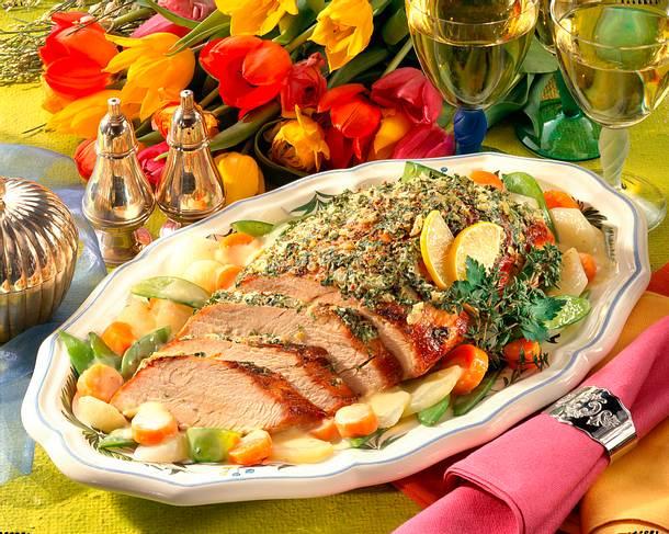 Kräuter-Putenbraten mit buntem Gemüse Rezept