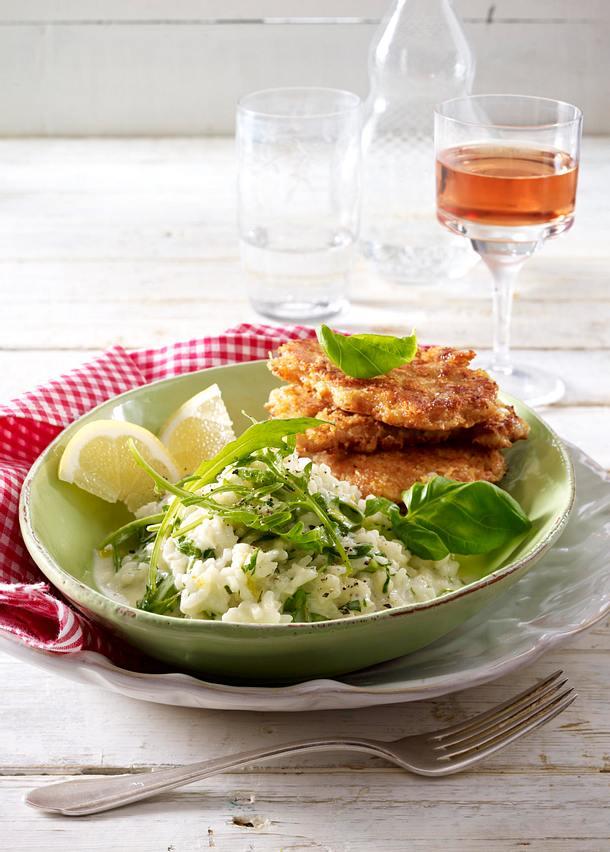 Kräuter-Risotto zu Parmesan-Schnitzelchen Rezept