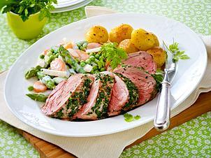 Kräuter-Schweinefilet mit Leipziger Allerlei und Röstkartoffeln Rezept