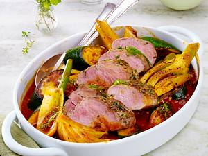 Kräuter-Schweinefilet mit Fenchel-Zucchinigemüse Rezept