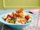 Kräuter-Spaghetti mit geschmorten Tomaten und Garnelen Rezept
