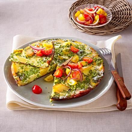 Kräuter-Tortilla mit buntem Tomaten-Salat Rezept