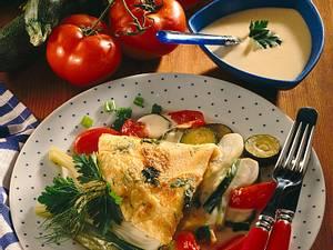 Kräuterpfannkuchen und buntes Gemüse Rezept