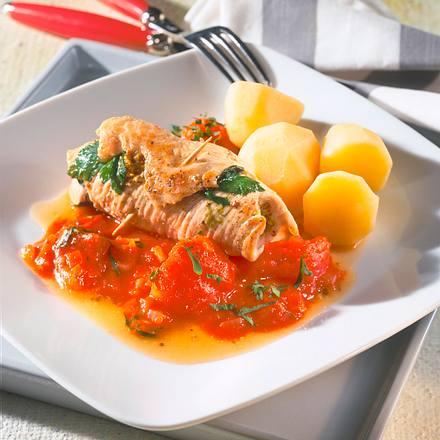 Kräuterrouladen mit Tomatenragout Rezept