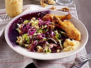 Krautsalat mit pikantem Quittenchutney zu Hähnchenkeulen Rezept