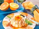 Krokant-Pudding auf Orangensoße Rezept