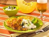 Kürbis-Kartoffelpuffer mit Dip Rezept