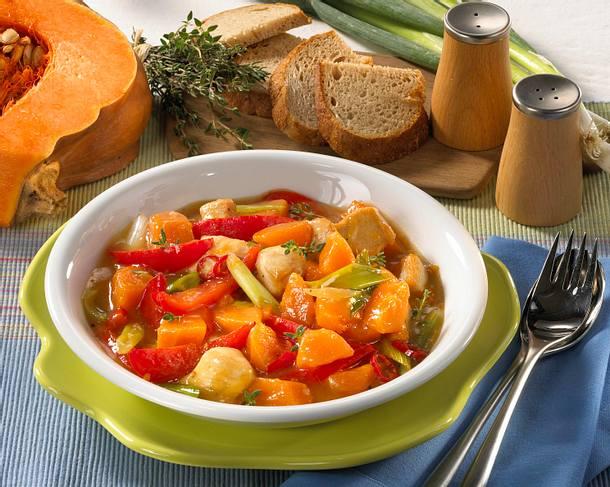 Kürbis-Ragout mit Brot Rezept