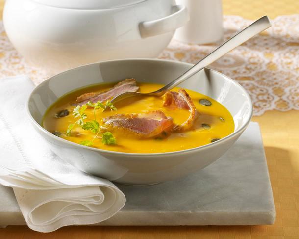 Kürbissuppe mit Entenbruststreifen Rezept