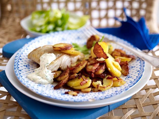 Kutterfisch zu Bratkartoffeln und Remoulade Rezept