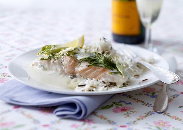 Lachs in Champagnersoße Rezept