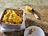 Lachs-Lauch-Auflauf mit Senfkartoffelpüree-Kruste Rezept