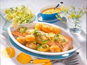 Lachs mit Zitronen-Estragon-Soße Rezept