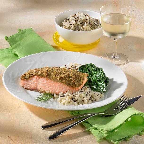 Lachs-Sahne-Schnitte mit Wildreis Rezept
