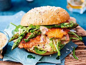 Lachs-Spargel-Burger Rezept