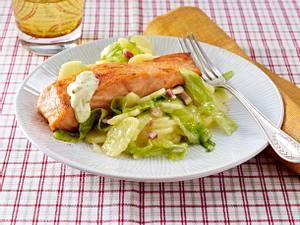 Lachs zu Speckkartoffelsalat Rezept