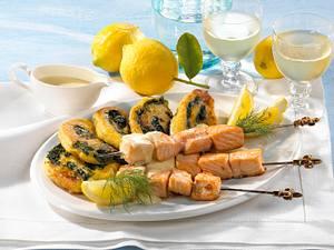 Lachsspieße mit Zitronensoße & Kartoffel-Schnecken Rezept