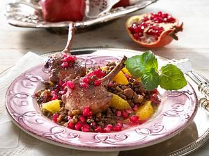 Lammkoteletts auf Granatapfel-Linsen Rezept