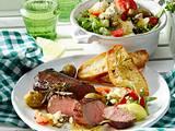 Lammlachse mit sommerlichem Salat Rezept