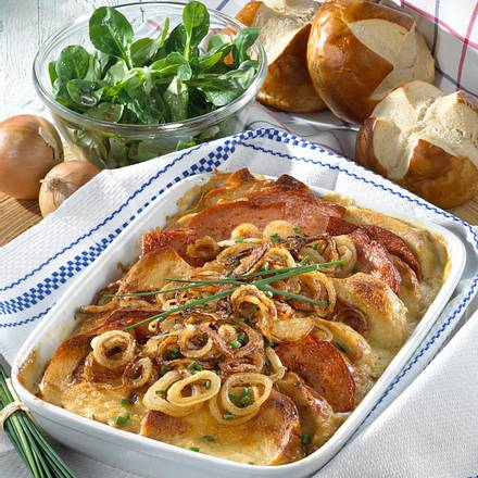 Laugenbrötchen-Fleischkäse-Gratin Rezept