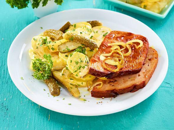 Leberkäse mit Kartoffelsalat Rezept