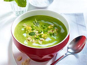 Leichte Erbsencreme-Suppe mit Schinken Rezept