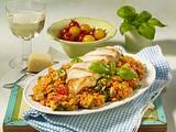 Leichtes Risotto mit Tomaten und Hähnchenfilet Rezept