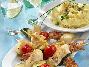 Lengfisch-Schaschlik mit Sesam-Kartoffelpüree Rezept