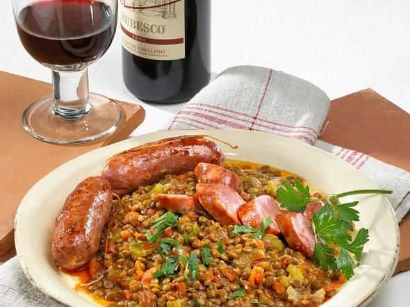 Lenticche con salsicce (Linsen mit Fenchelwurst) Rezept