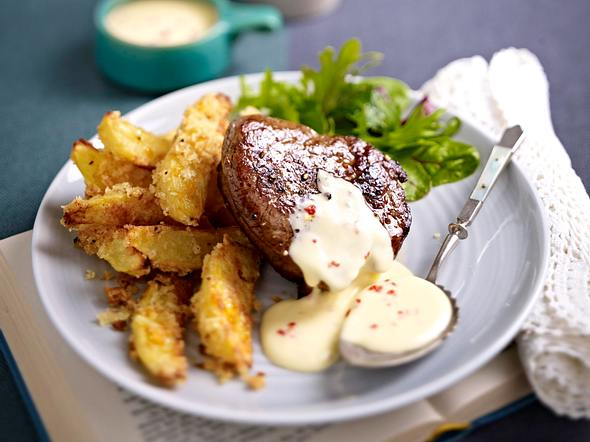 Limetten-Chili-Hollandaise zu Filetsteak und Panko-Potatos Rezept