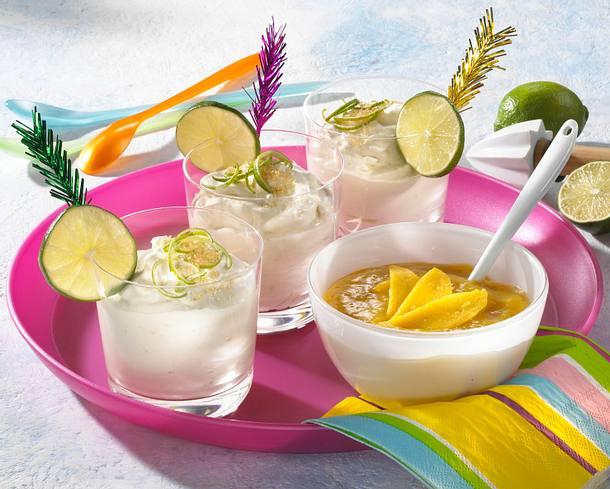 Limetten-Joghurt-Creme mit Mangosoße Rezept