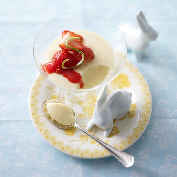 Limettencreme mit Erdbeersoße Rezept