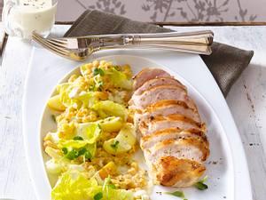 Linsen-Apfel-Salat mit gebratenen Hähnchenstreifen Rezept