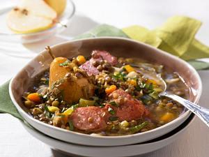 Linsen-Eintopf mit Speck und Kochwürsten Rezept