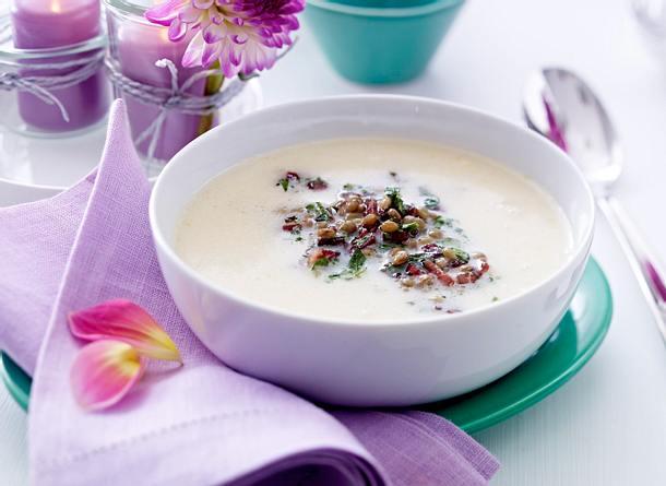 Linsen-Sahnesuppe mit Katenschinken-Croûtons Rezept
