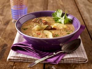 Linseneintopf mit Quitten und Lammwürstchen Rezept