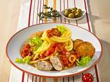 Makkaroni in Tomatensoße und Bratlinge Rezept