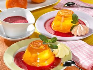 Mandarinen-Gelee mit Himbeersoße Rezept