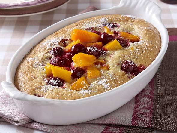 Mandel-Auflauf mit Mango und Kirschen Rezept
