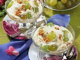 Mandel-Krokant-Creme mit Trauben Rezept